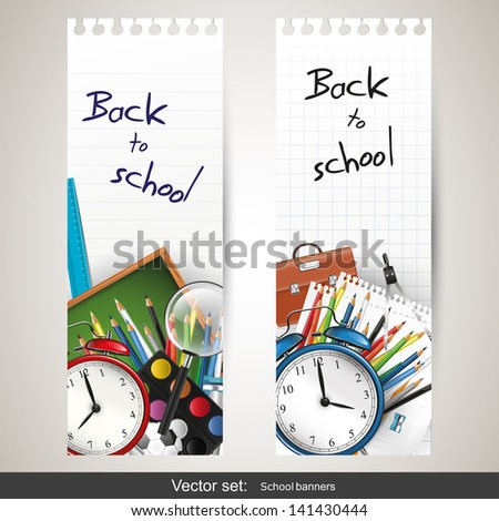 Back to school - set of vector banners  - stock vector