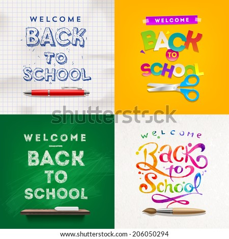 Back to school - set of vector different style vector backgrounds - stock vector