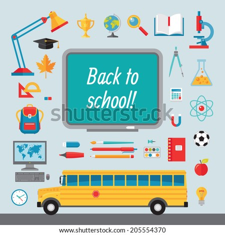 Back to school - set of vector icons in flat style for creative design projects. Collection of signs illustrations on the education and learning themes.  - stock vector