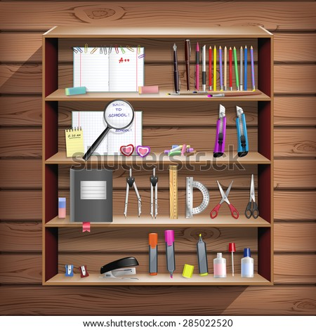 Back to School set with office stationery objects in wooden closet in vector - stock vector