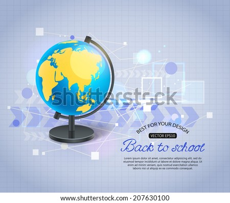 Back to school shining typographical background with realistic globe and place for text. Vector illustration. - stock vector