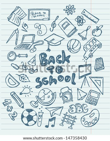 Back to school sketchy doodles vector illustration  - stock vector