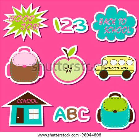 Back to School - Sticker set - stock vector