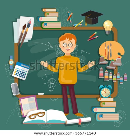 Back to school student education subjects schoolboy blackboards vector illustration - stock vector