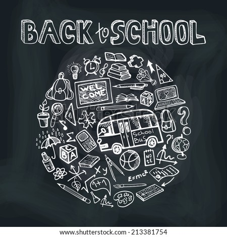 Back to School Supplies Sketchy chalkboard Doodles  lettering with  Swirls- Hand-Drawn.Circle  Composition.Vector Illustration Design Elements on chalkboard Background - stock vector