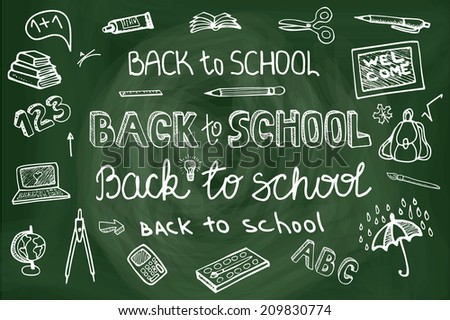 Back to School Supplies Sketchy chalkboard Doodles lettering with  Swirls- Hand-Drawn.Horizontal Composition.Vector Illustration Design Elements on Lined Sketchbook chalkboard Background - stock vector