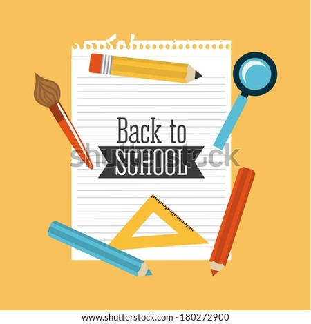 Back to School supplies, vector illustration - stock vector
