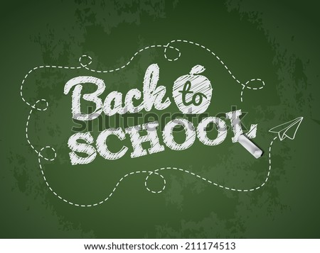 Back to school text on green chalkboard