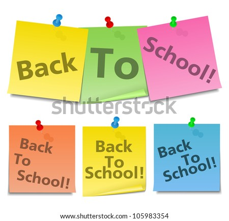 Back to School text on sticky notes - stock vector