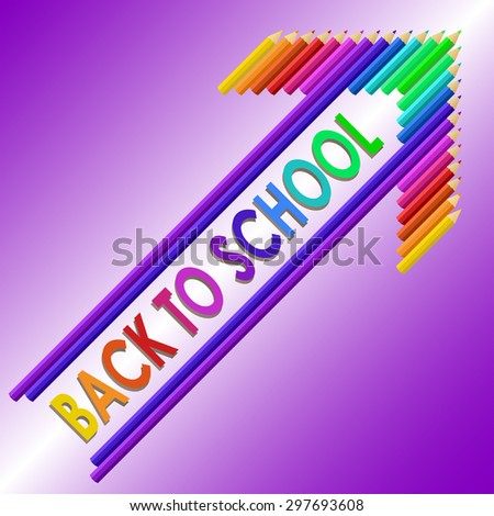 Back to school text with colored pencils. Vector illustration. - stock vector