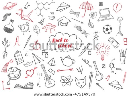 Back to school themed doodle vector background.