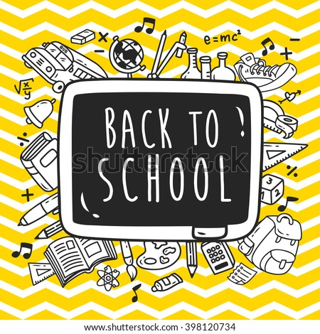 Back to school themed doodle with chevron background - stock vector