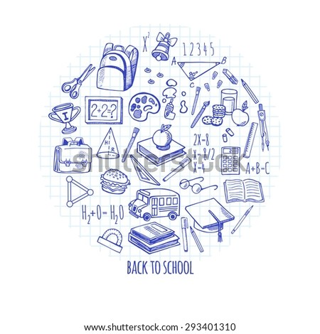 Back to school tools sketch icons isolation in a circle vector design illustration. Background School. - stock vector