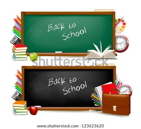 Back to school. Two banners with school supplies. Vector. - stock vector