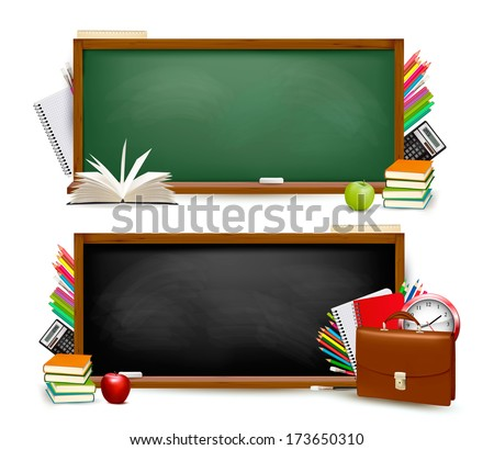 Back to school.Two banners with school supplies. Vector.  - stock vector