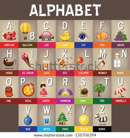 Z Alphabet Images Back to school : Vector : Alphabet A to Z - Colorful Picture ...