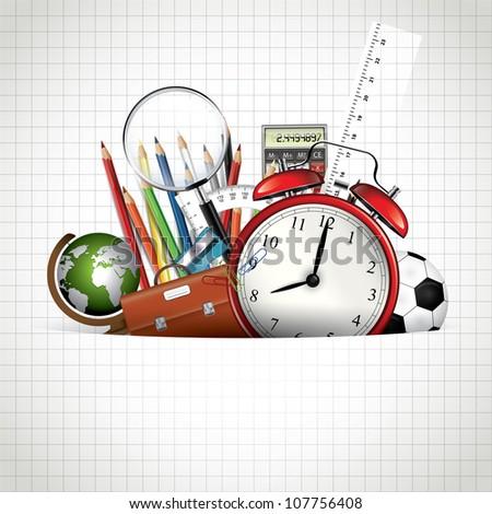 Back to school - Vector background - stock vector