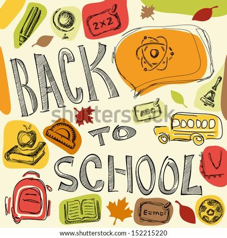Back to school vector background - stock vector