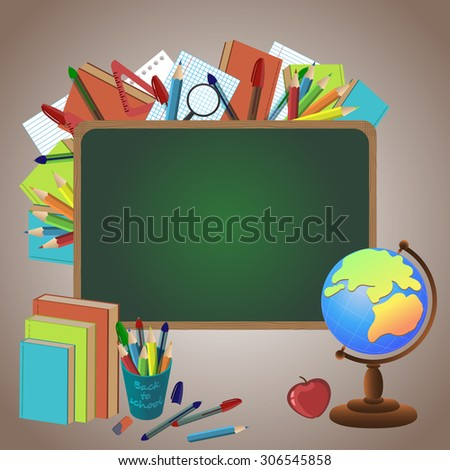 Back to school. Vector background of school supplies and items.