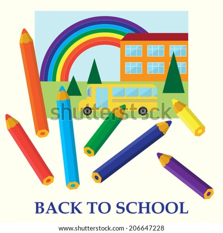 back to school vector cartoon funny background for use in design - stock vector