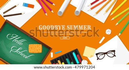 Back to school. Vector illustration. Flat style. Distance education and learning. Online courses and web school. Knowledge and information. Study process. E-learning.
