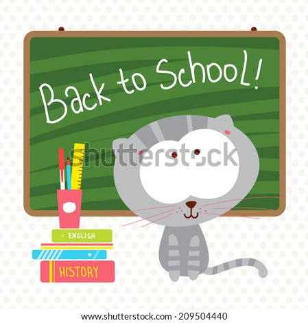 Back to school, vector illustration. Funny cat with books. Cartoon background. - stock vector