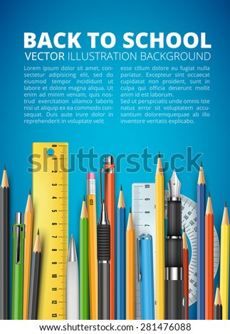 Back to school vector illustration. Many pencils, rulers and pens on blue background with space for your text - stock vector