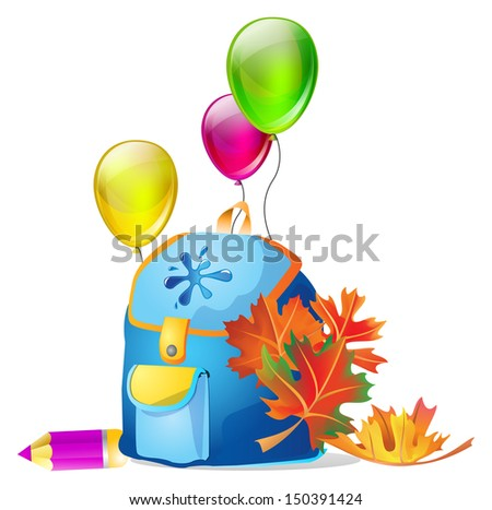 Back to school! Vector illustration of school bag with education objects  - stock vector