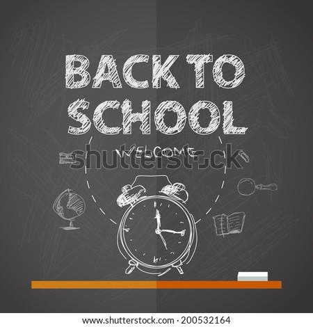 Back to school, vector illustration on dark blackboard. - stock vector