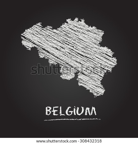 Back to school vector map of Belgium hand drawn with chalk on a blackboard. Chalkboard scribble in childish style. White chalk texture on black background - stock vector