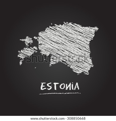 Back to school vector map of Estonia hand drawn with chalk on a blackboard. Chalkboard scribble in childish style. White chalk texture on black background