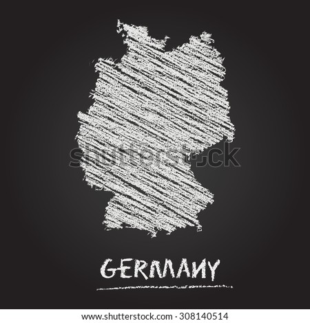 Back to school vector map of Germany hand drawn with chalk on a blackboard. Chalkboard scribble in childish style. White chalk texture on black background - stock vector