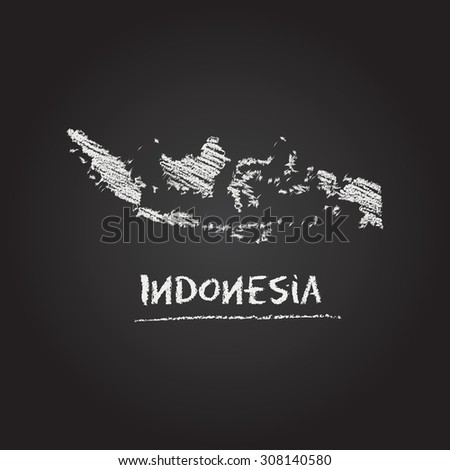 Back to school vector map of Indonesia hand drawn with chalk on a blackboard. Chalkboard scribble in childish style. White chalk texture on black background - stock vector