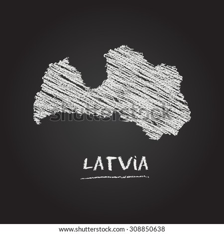 Back to school vector map of Latvia hand drawn with chalk on a blackboard. Chalkboard scribble in childish style. White chalk texture on black background - stock vector