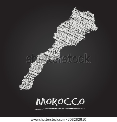 Back to school vector map of Morocco hand drawn with chalk on a blackboard. Chalkboard scribble in childish style. White chalk texture on black background - stock vector