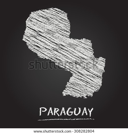 Back to school vector map of Paraguay hand drawn with chalk on a blackboard. Chalkboard scribble in childish style. White chalk texture on black background - stock vector