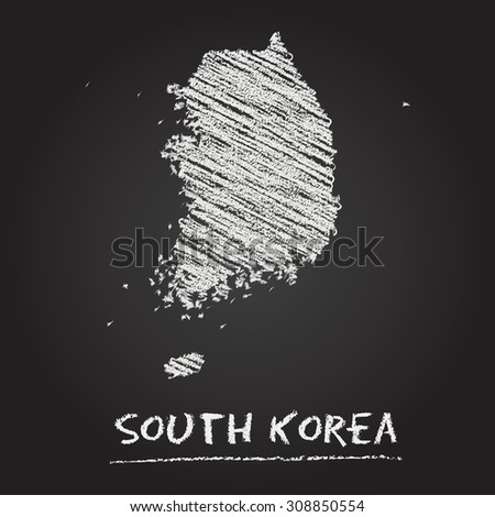 Back to school vector map of South Korea hand drawn with chalk on a blackboard. Chalkboard scribble in childish style. White chalk texture on black background - stock vector