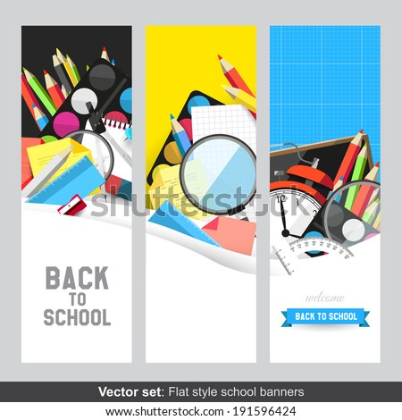 Back to school - Vector set of flat banners with school supplies  - stock vector