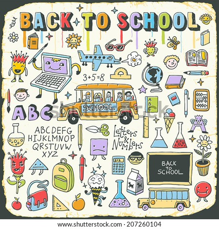Back to school vintage doodle set on carton card. Hand drawn vector illustration. - stock vector