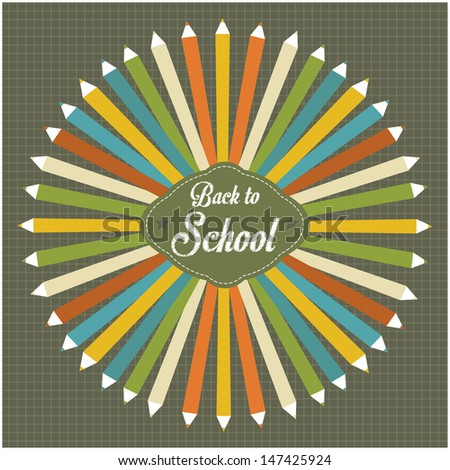 Back to school vintage style illustration - stock vector