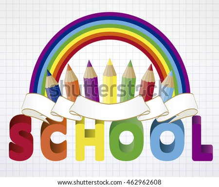 Back to school wallpaper with multicolored pencils, vector illustration
