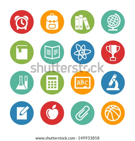 Back to school. Web icons set - stock vector