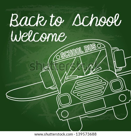 back to school welcome over green vector illustration - stock vector