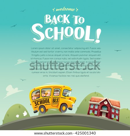 Back to School! Wide copy space for text.  - stock vector
