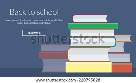 Back to school with many books. Vector concept for online advertising - stock vector
