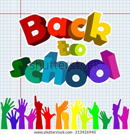 Back to school with raising hands, vector - stock vector