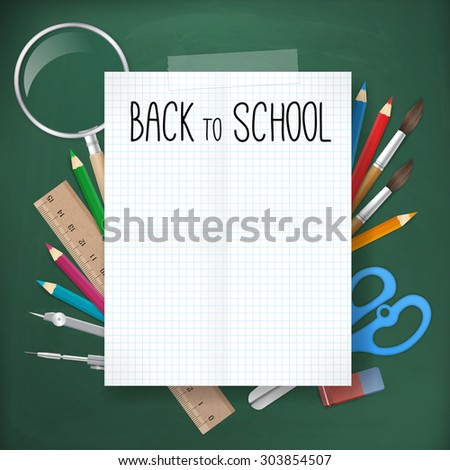 back to school written on white blank paper on blackboard with school supplies. vector illustration. isolated object.