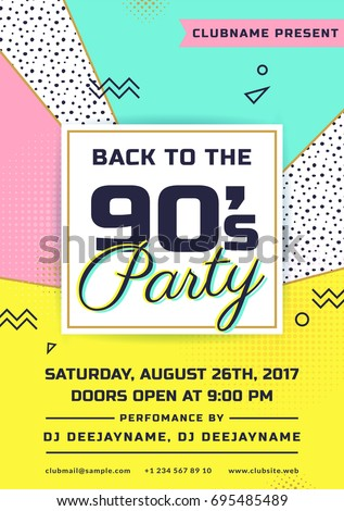 Back 90s party invitation colorful flyer stock vector for Poster template 90 x 120cm