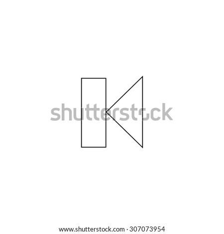 Back Track arrow Media player control button. Outline black simple vector pictogram - stock vector