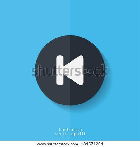 Back track web icon.Media player. Flat design. - stock vector